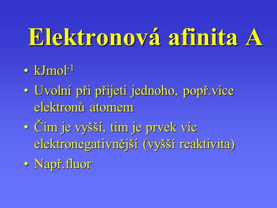 Elektronová afinita A kJmol-1