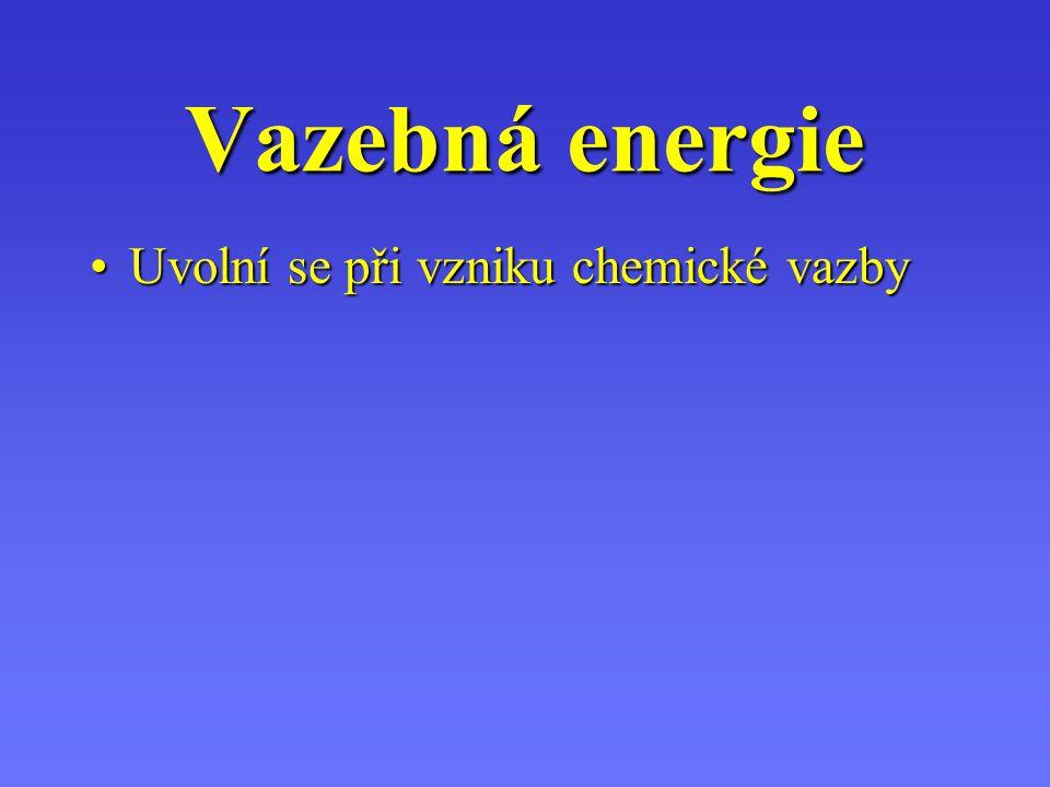 Vazebná energie Uvolní se při vzniku chemické vazby