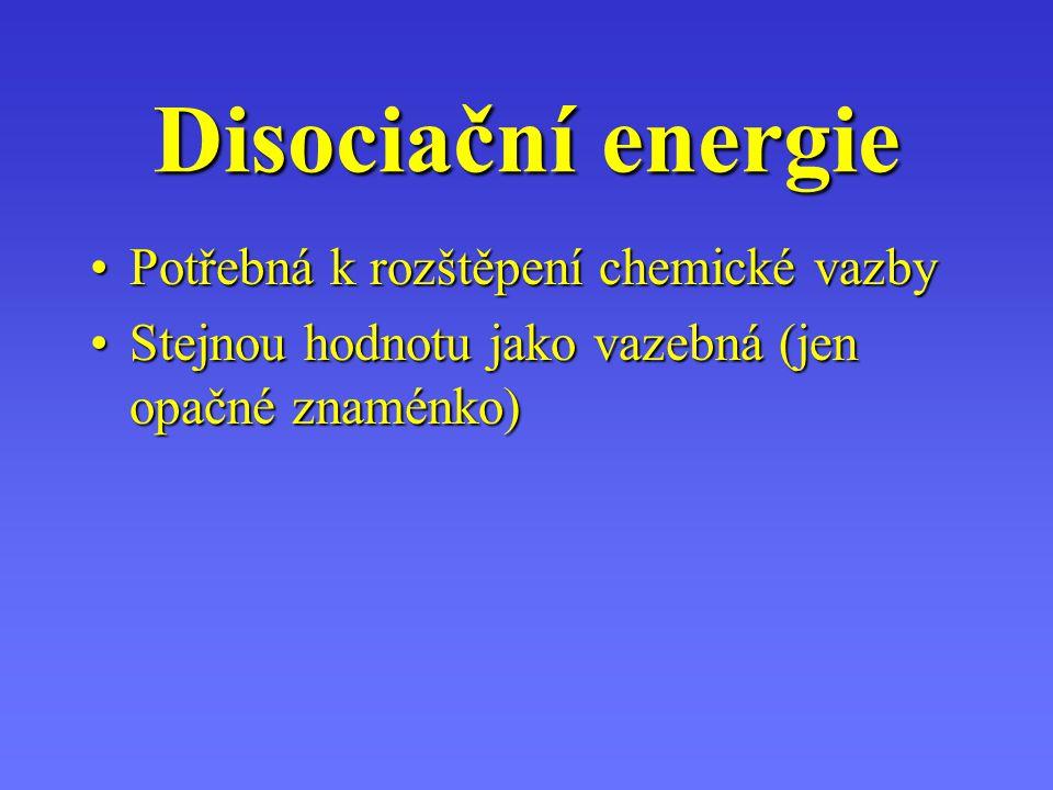 Disociační energie Potřebná k rozštěpení chemické vazby