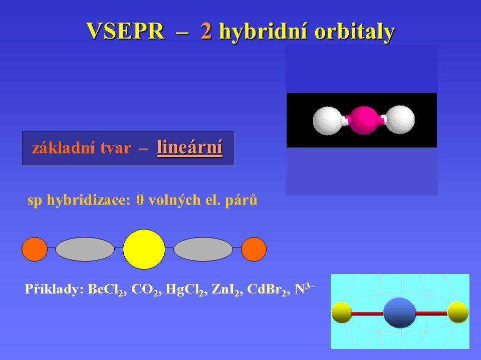 VSEPR – 2 hybridní orbitaly