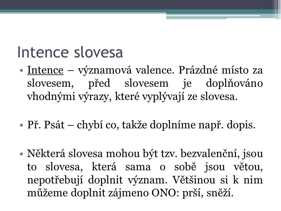 Intence slovesa Intence – významová valence. Prázdné místo za slovesem, před slovesem je doplňováno vhodnými výrazy, které vyplývají ze slovesa.