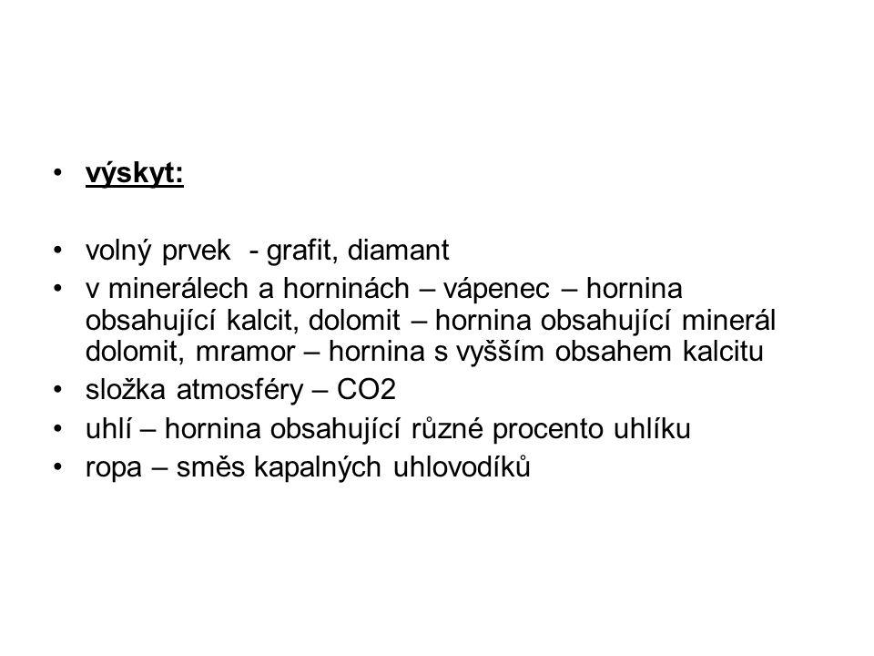výskyt: volný prvek - grafit, diamant.