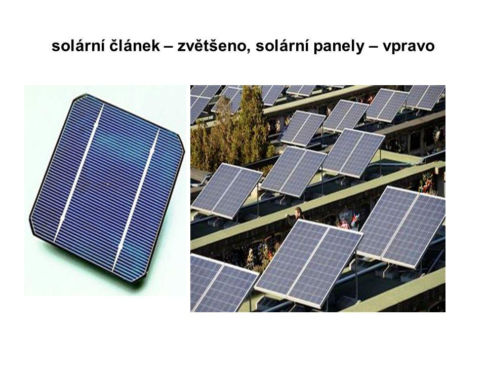 solární článek – zvětšeno, solární panely – vpravo