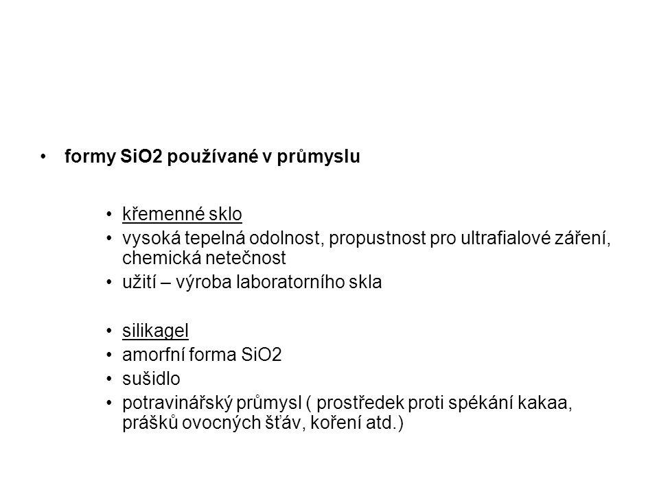 formy SiO2 používané v průmyslu