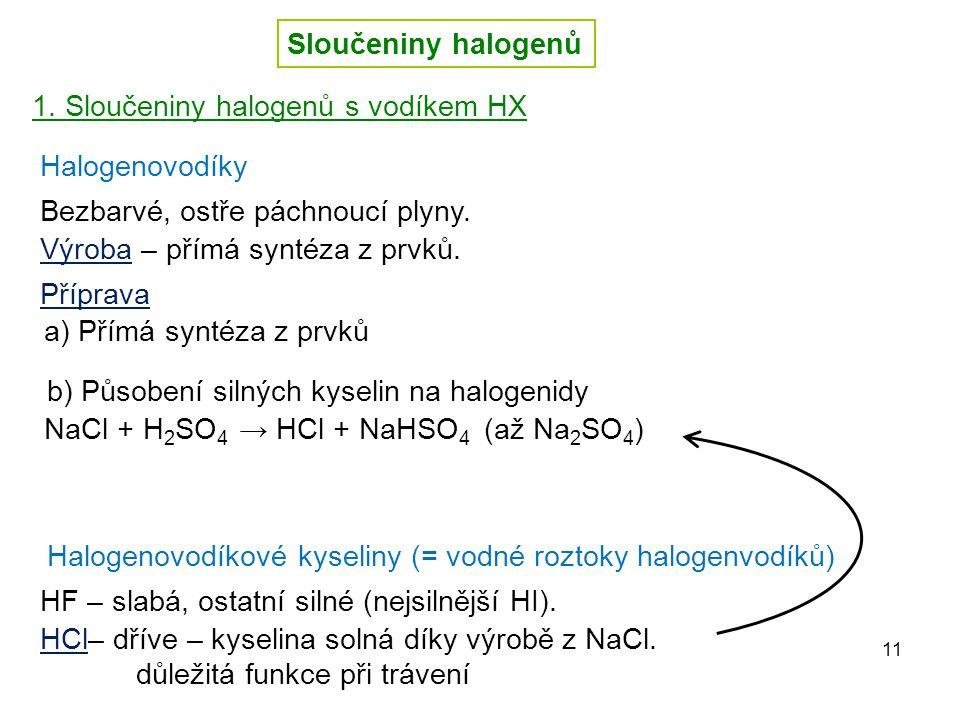 Sloučeniny halogenů 1. Sloučeniny halogenů s vodíkem HX. Halogenovodíky. Bezbarvé, ostře páchnoucí plyny.