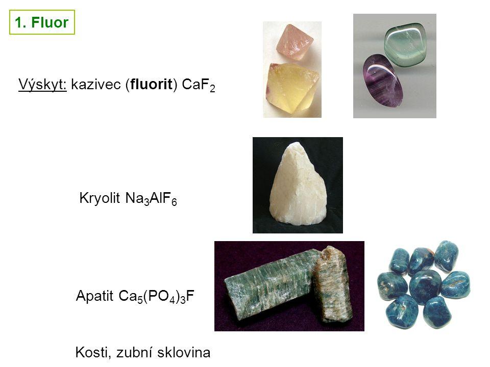 1. Fluor Výskyt: kazivec (fluorit) CaF2 Kryolit Na3AlF6 Apatit Ca5(PO4)3F Kosti, zubní sklovina