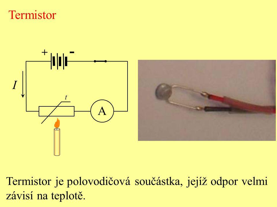 - Termistor I A Termistor je polovodičová součástka, jejíž odpor velmi