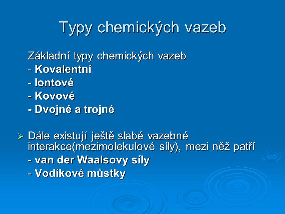 Typy chemických vazeb - Kovalentní - Iontové - Kovové