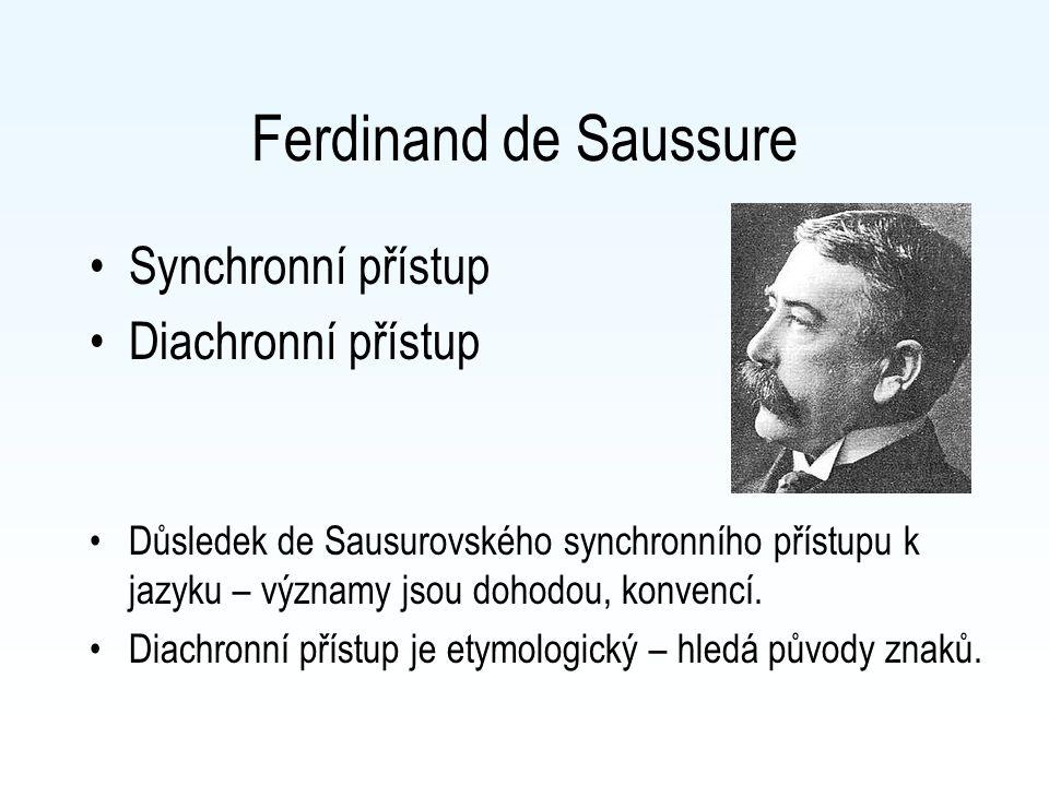 Ferdinand de Saussure Synchronní přístup Diachronní přístup