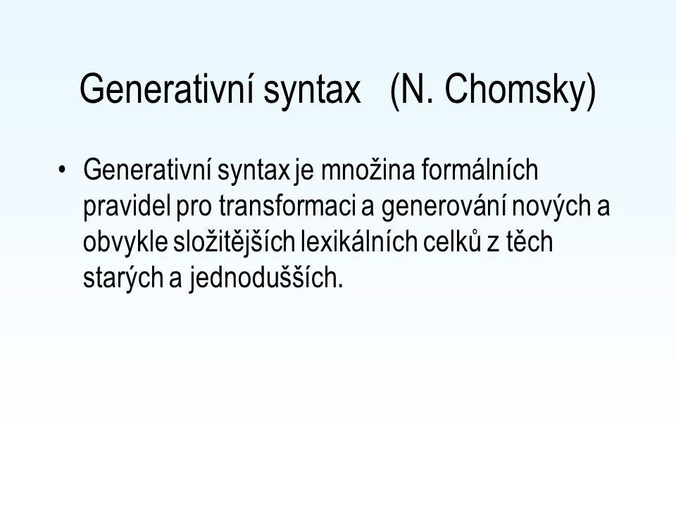 Generativní syntax (N. Chomsky)
