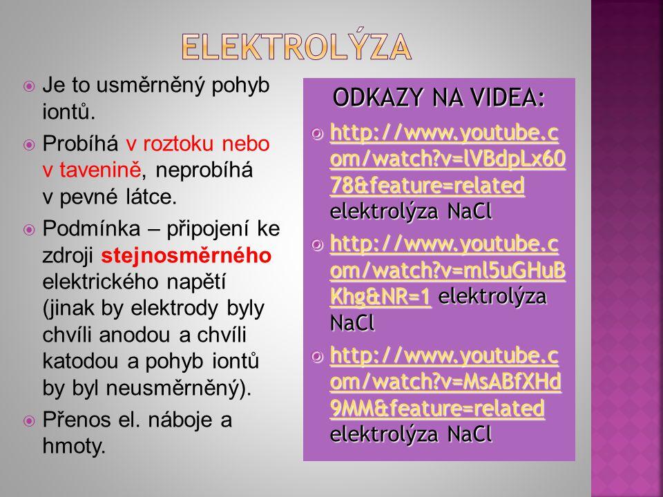 elektrolýza ODKAZY NA VIDEA: Je to usměrněný pohyb iontů.