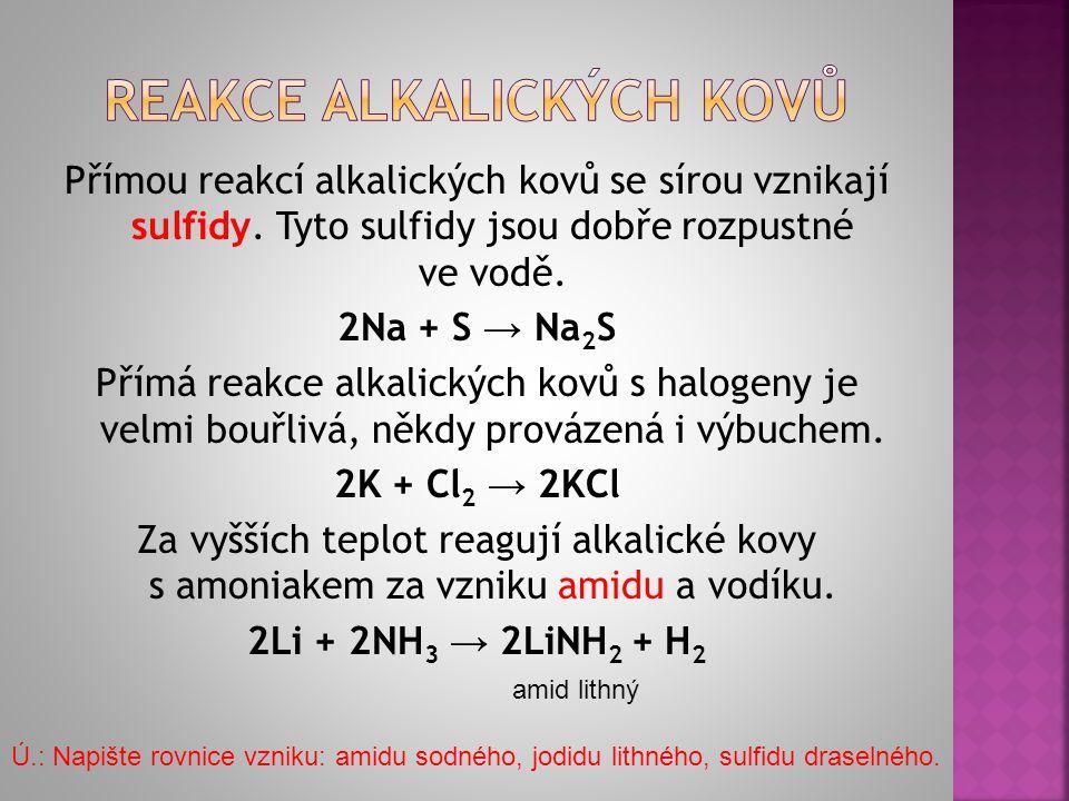 Reakce alkalických kovů