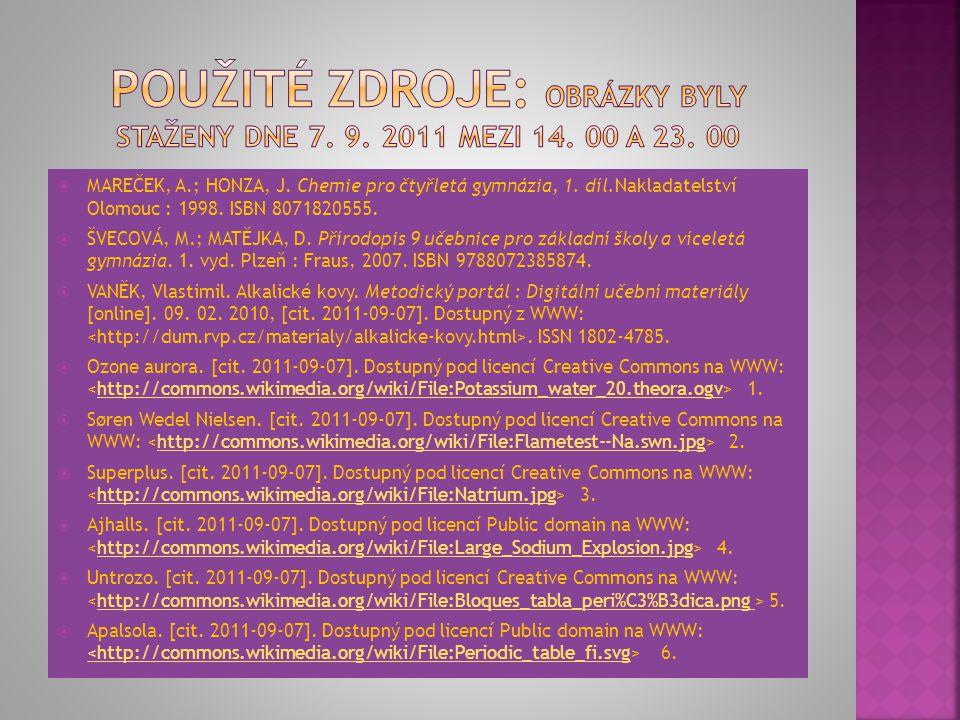 Použité zdroje: Obrázky byly staženy dne 7. 9. 2011 mezi 14. 00 a 23