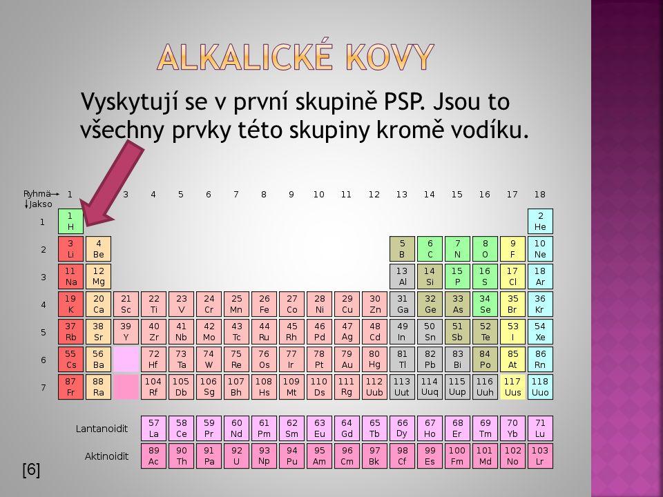 Alkalické kovy Vyskytují se v první skupině PSP. Jsou to všechny prvky této skupiny kromě vodíku.