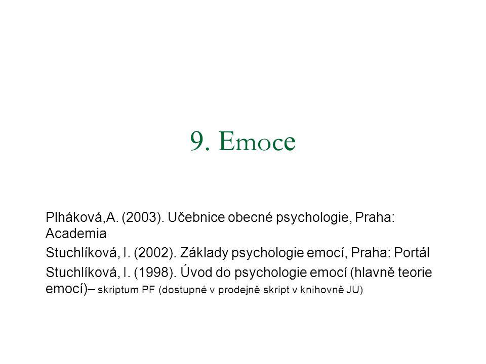 9. Emoce Plháková,A. (2003). Učebnice obecné psychologie, Praha: Academia. Stuchlíková, I. (2002). Základy psychologie emocí, Praha: Portál.