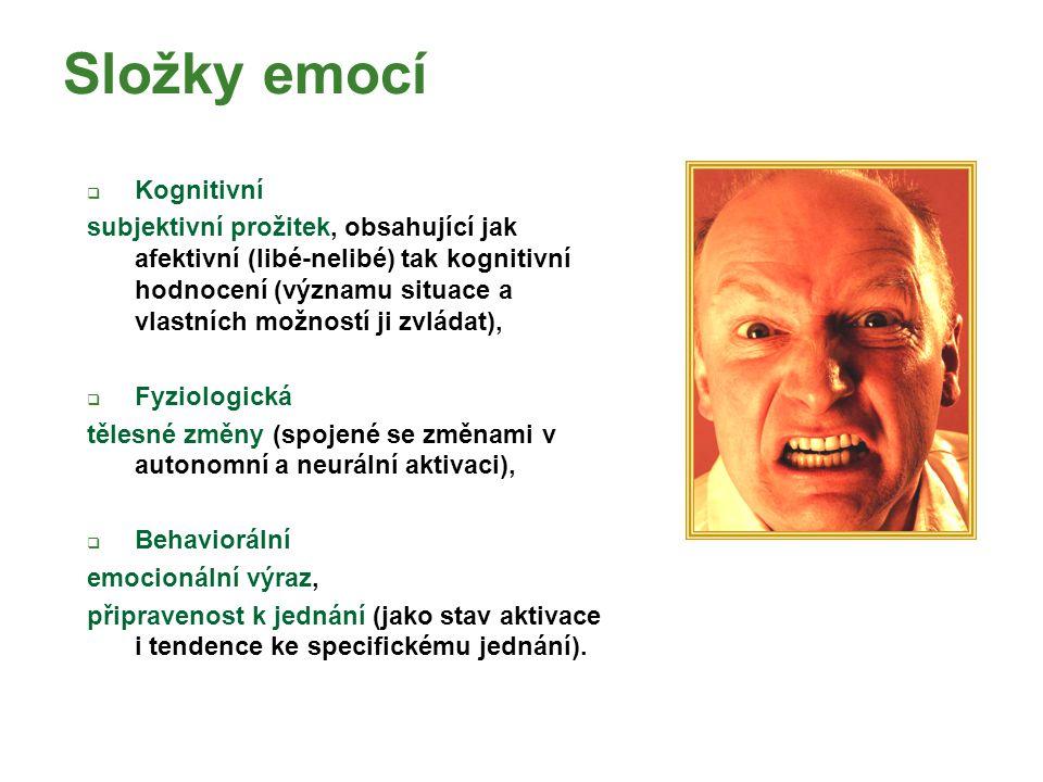Složky emocí Kognitivní