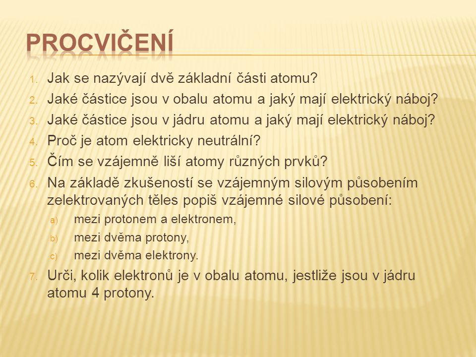 Procvičení Jak se nazývají dvě základní části atomu