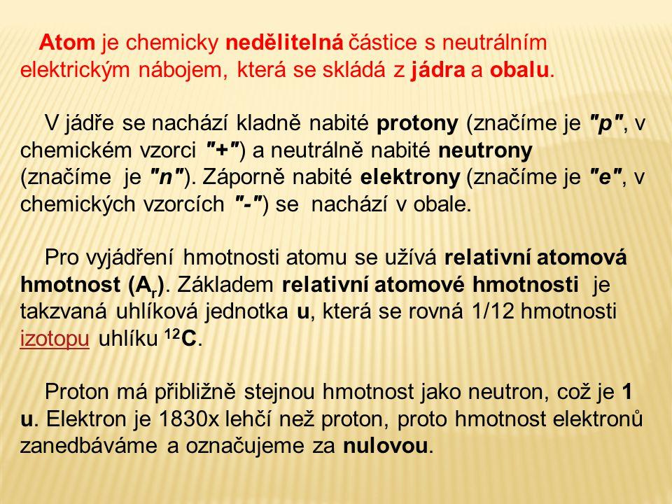 Atom je chemicky nedělitelná částice s neutrálním elektrickým nábojem, která se skládá z jádra a obalu.