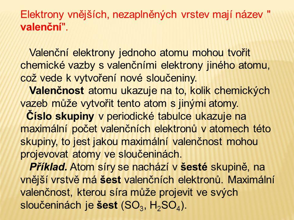 Elektrony vnějších, nezaplněných vrstev mají název valenční .