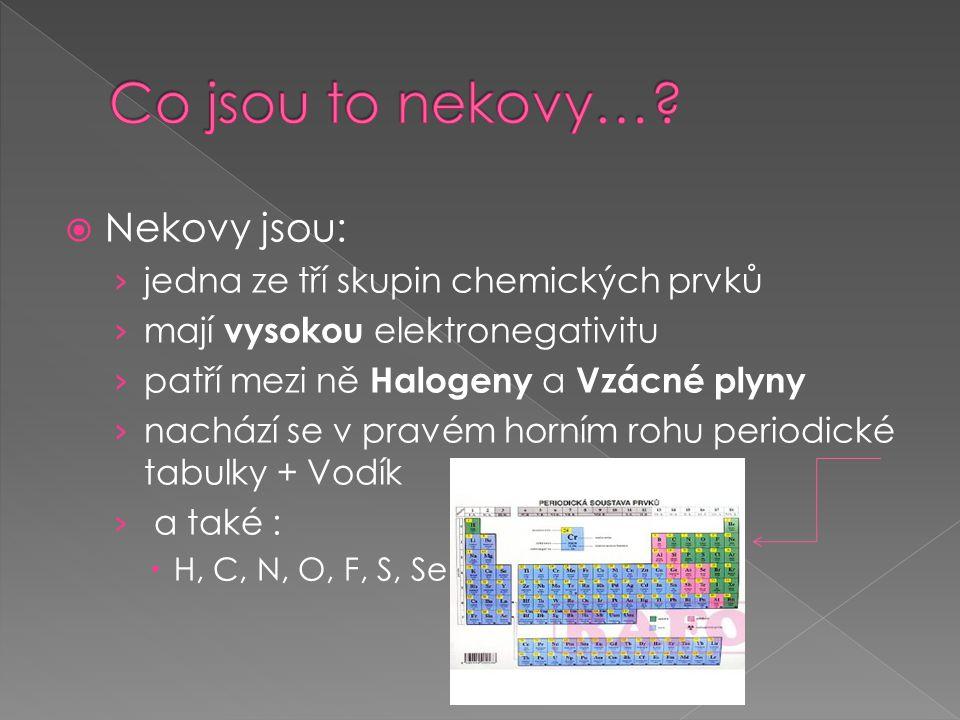 Co jsou to nekovy… Nekovy jsou: jedna ze tří skupin chemických prvků