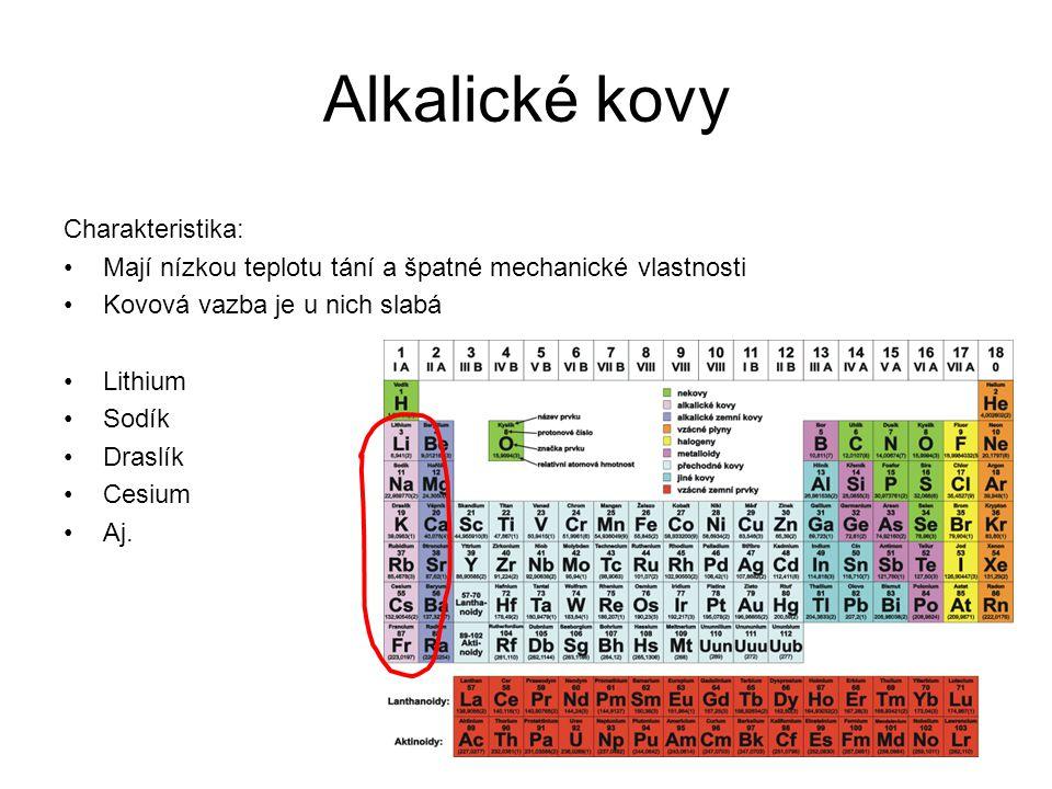 Alkalické kovy Charakteristika: