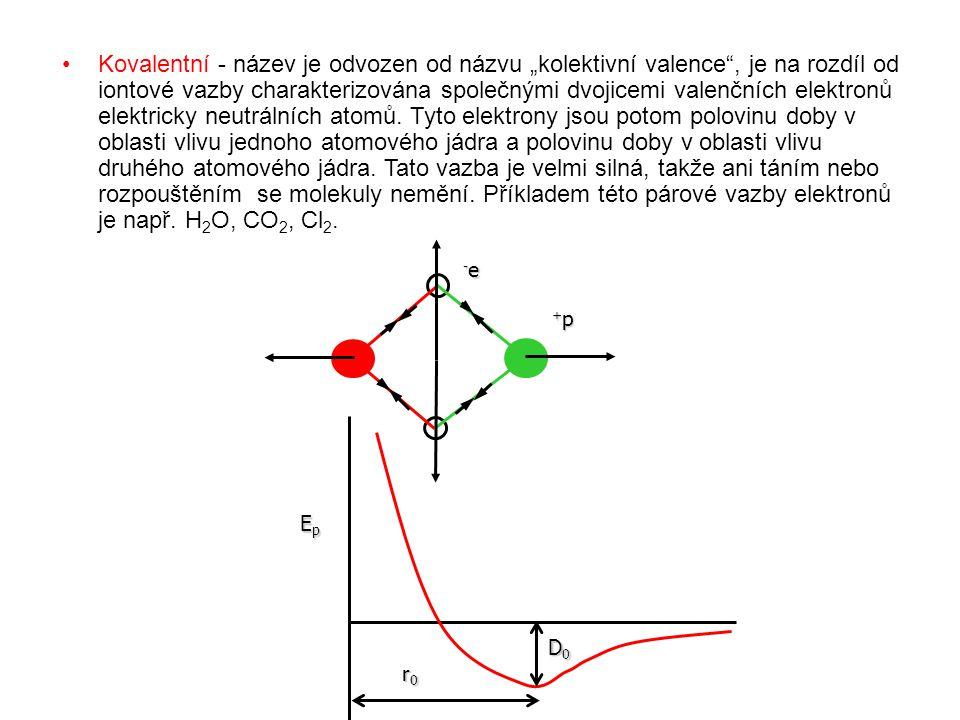 """Kovalentní - název je odvozen od názvu """"kolektivní valence , je na rozdíl od iontové vazby charakterizována společnými dvojicemi valenčních elektronů elektricky neutrálních atomů. Tyto elektrony jsou potom polovinu doby v oblasti vlivu jednoho atomového jádra a polovinu doby v oblasti vlivu druhého atomového jádra. Tato vazba je velmi silná, takže ani táním nebo rozpouštěním se molekuly nemění. Příkladem této párové vazby elektronů je např. H2O, CO2, Cl2."""