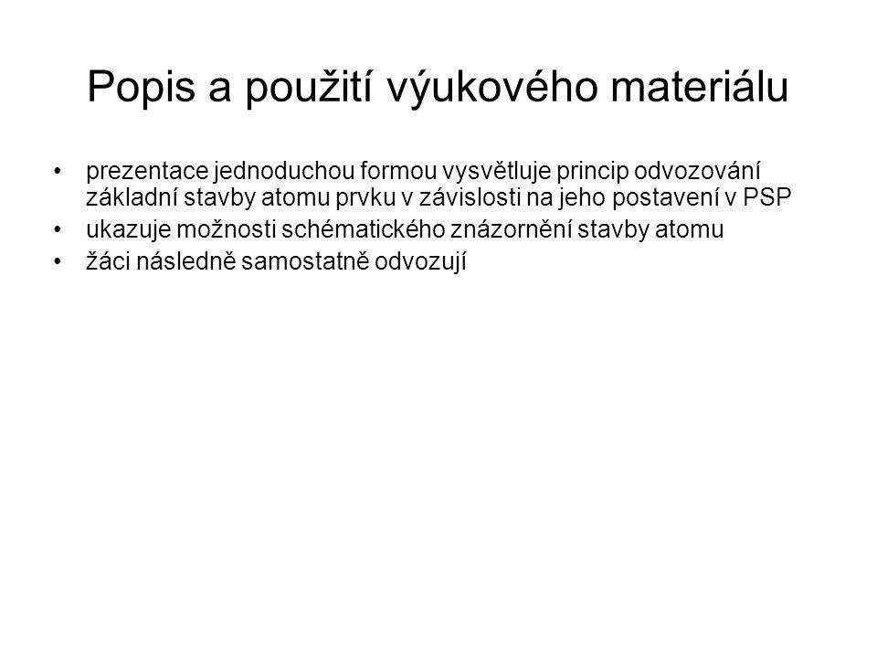 Popis a použití výukového materiálu