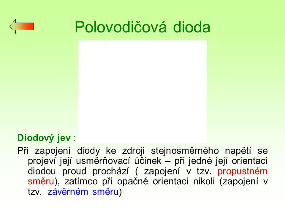 Polovodičová dioda Diodový jev :