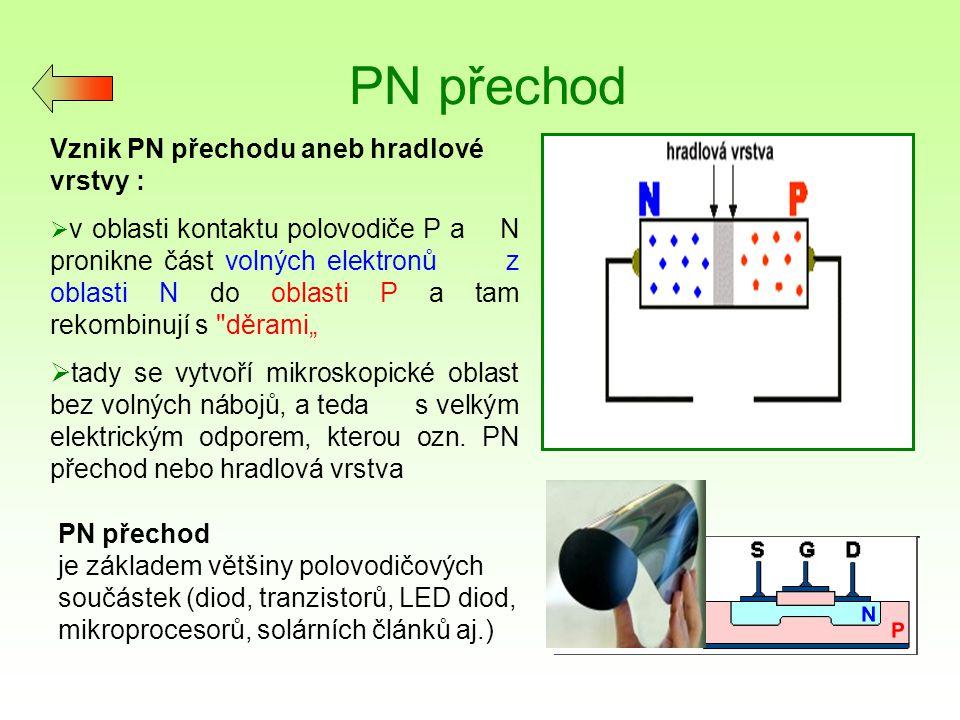PN přechod Vznik PN přechodu aneb hradlové vrstvy :