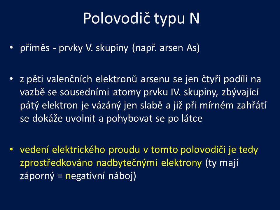 Polovodič typu N příměs - prvky V. skupiny (např. arsen As)
