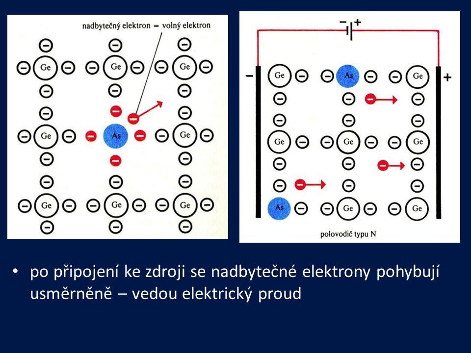 po připojení ke zdroji se nadbytečné elektrony pohybují usměrněně – vedou elektrický proud
