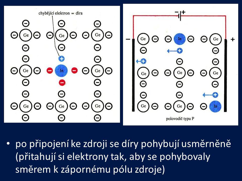 po připojení ke zdroji se díry pohybují usměrněně (přitahují si elektrony tak, aby se pohybovaly směrem k zápornému pólu zdroje)