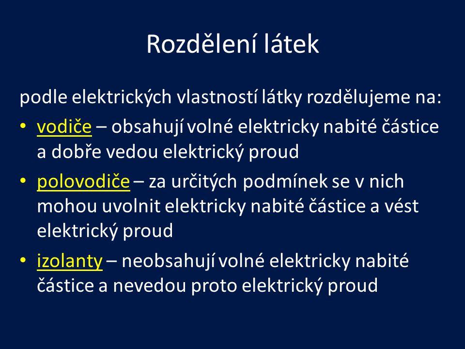 Rozdělení látek podle elektrických vlastností látky rozdělujeme na: