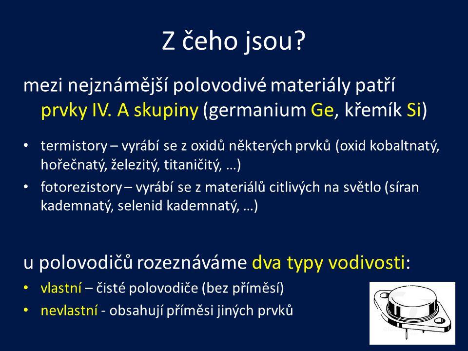 Z čeho jsou mezi nejznámější polovodivé materiály patří prvky IV. A skupiny (germanium Ge, křemík Si)