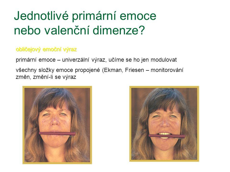 Jednotlivé primární emoce nebo valenční dimenze