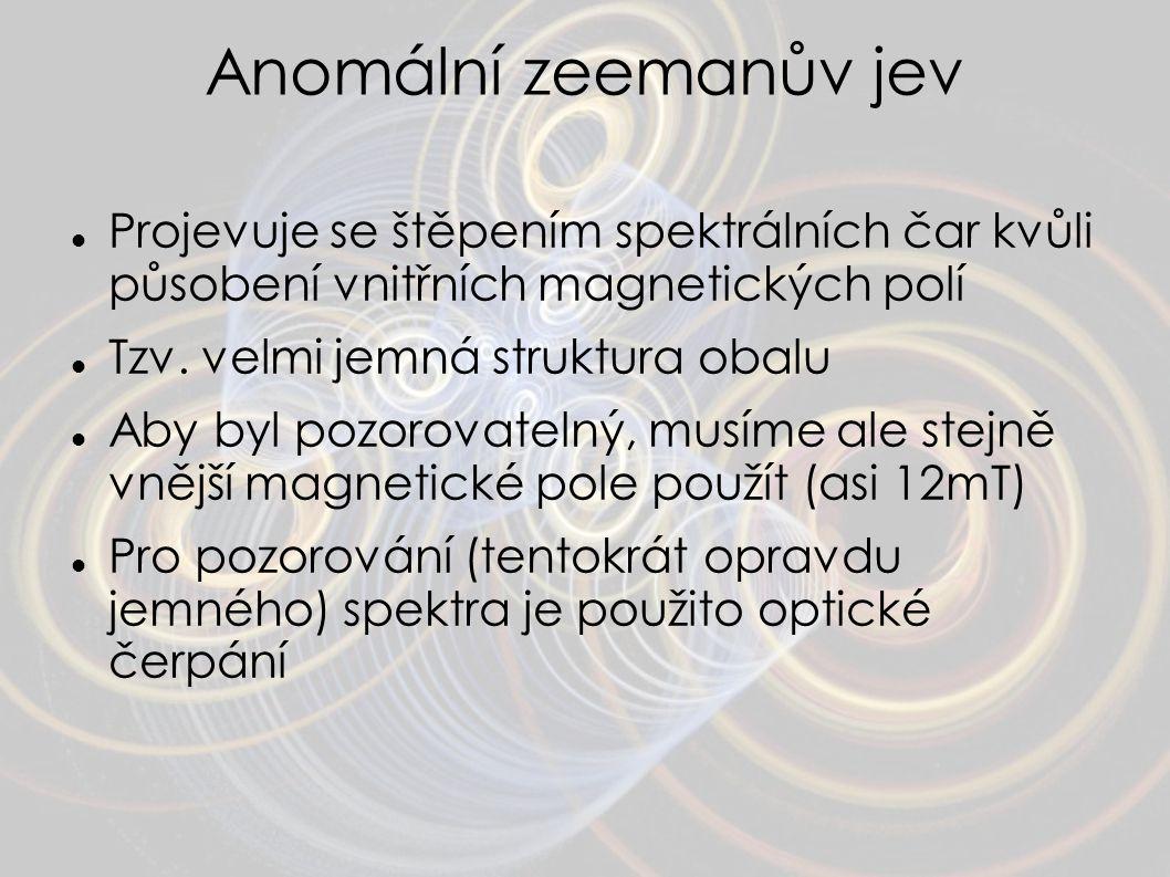 Anomální zeemanův jev Projevuje se štěpením spektrálních čar kvůli působení vnitřních magnetických polí.