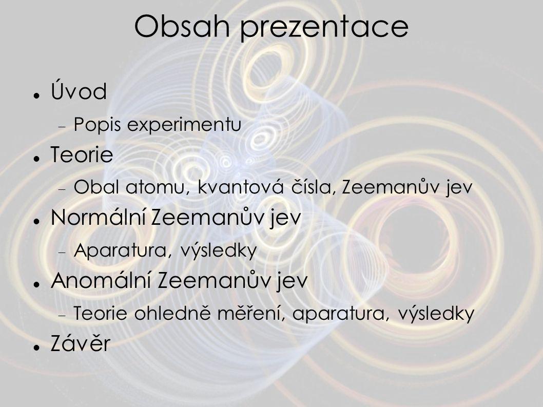 Obsah prezentace Úvod Teorie Normální Zeemanův jev