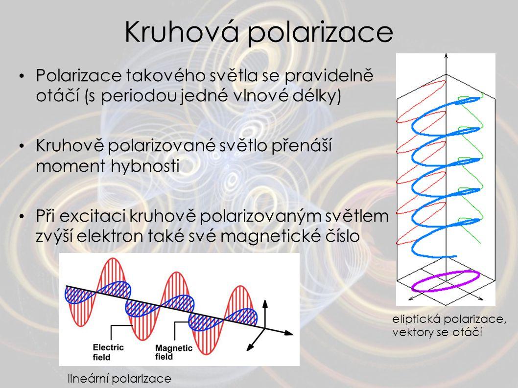 Kruhová polarizace Polarizace takového světla se pravidelně otáčí (s periodou jedné vlnové délky)