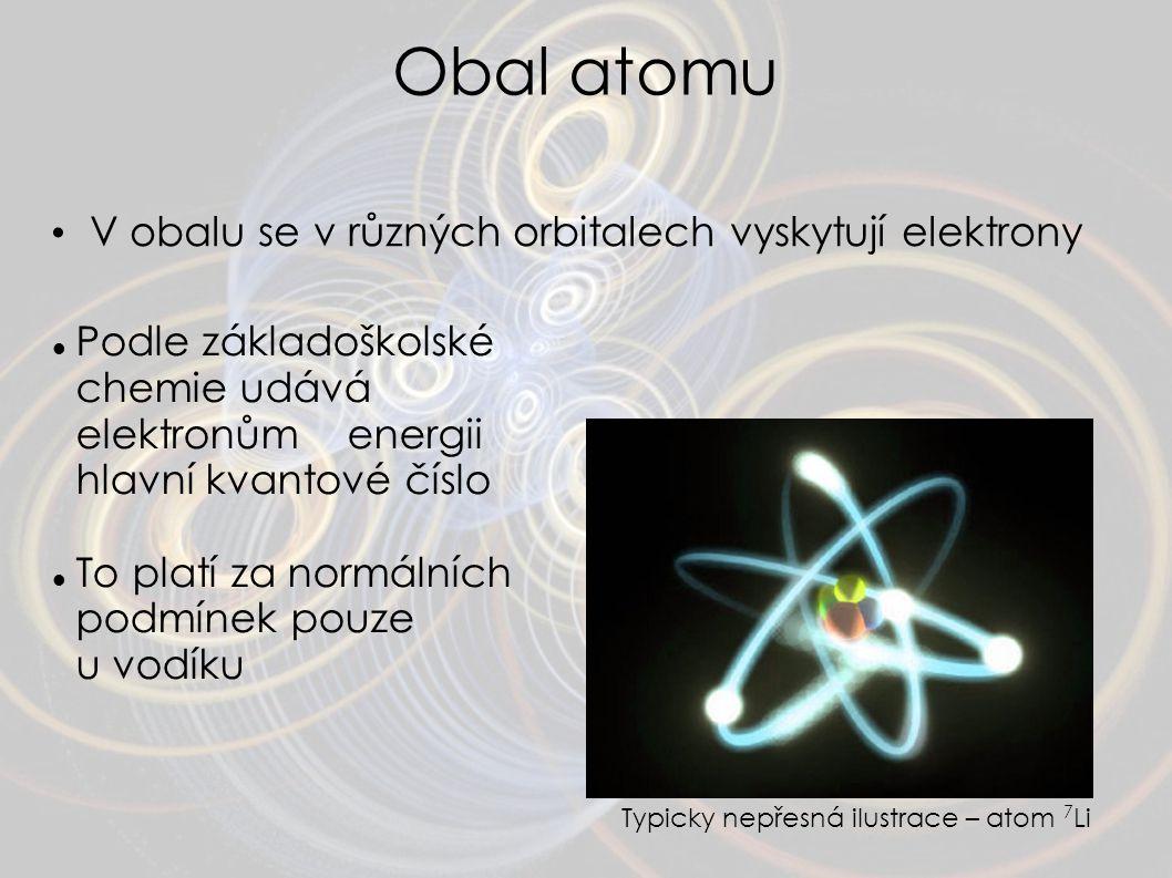 Obal atomu V obalu se v různých orbitalech vyskytují elektrony