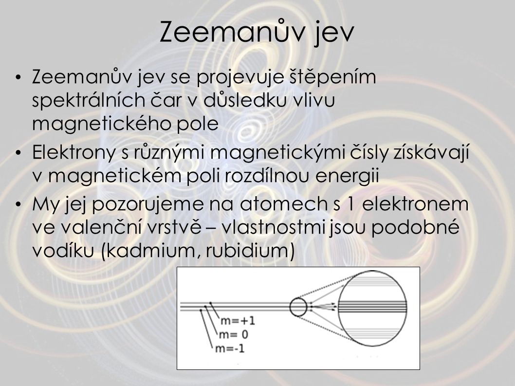 Zeemanův jev Zeemanův jev se projevuje štěpením spektrálních čar v důsledku vlivu magnetického pole.