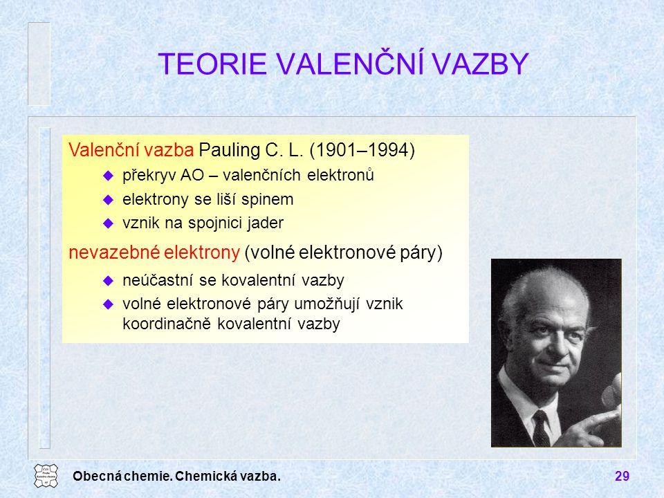 TEORIE VALENČNÍ VAZBY Valenční vazba Pauling C. L. (1901–1994)