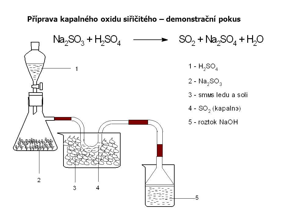 Příprava kapalného oxidu siřičitého – demonstrační pokus