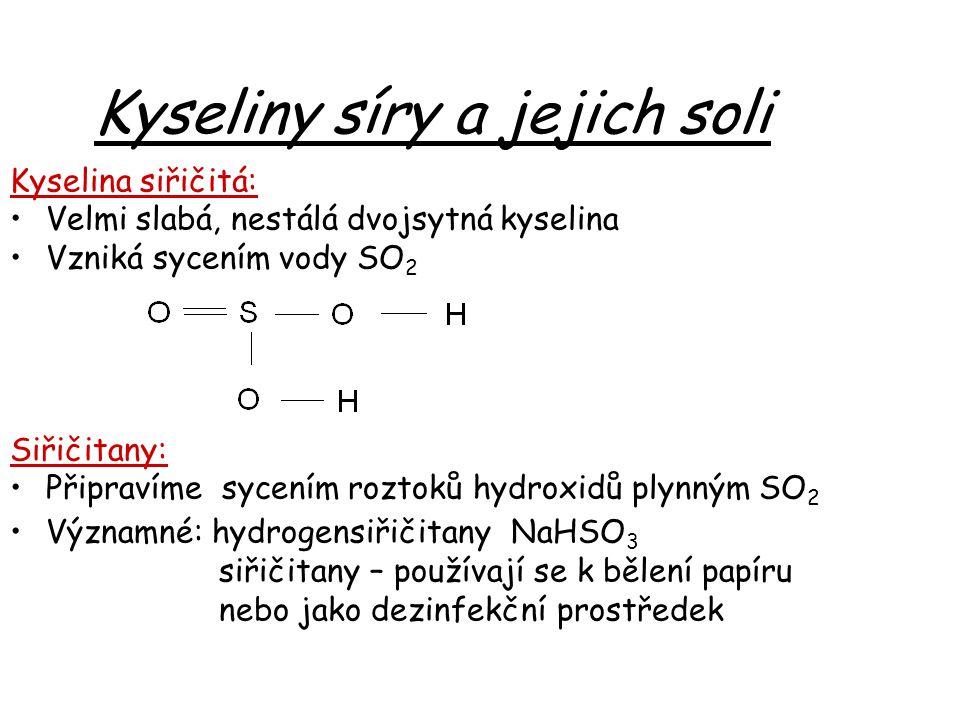 Kyseliny síry a jejich soli