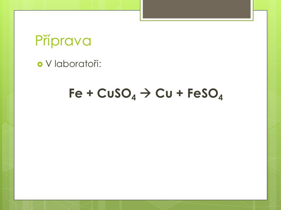 Příprava V laboratoři: Fe + CuSO4  Cu + FeSO4