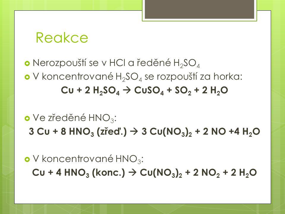 Reakce Nerozpouští se v HCl a ředěné H2SO4