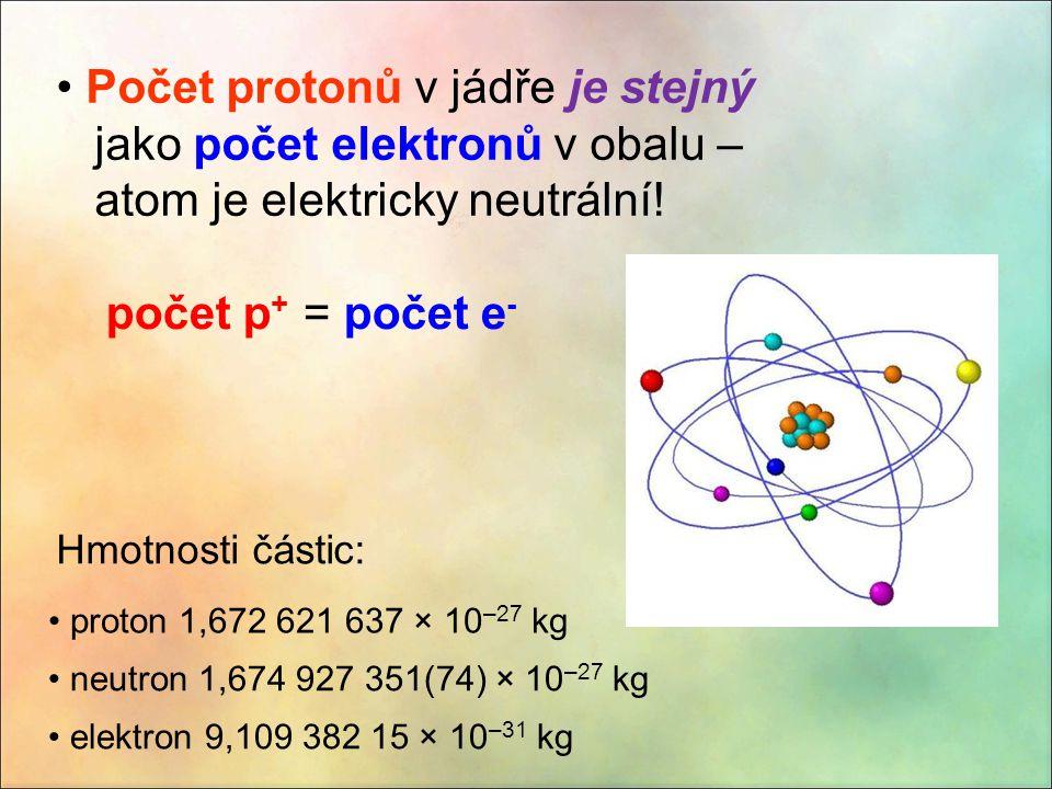 Počet protonů v jádře je stejný jako počet elektronů v obalu – atom je elektricky neutrální!