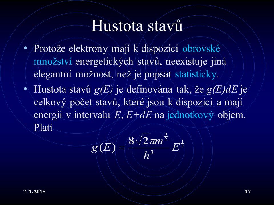 Hustota stavů Protože elektrony mají k dispozici obrovské množství energetických stavů, neexistuje jiná elegantní možnost, než je popsat statisticky.
