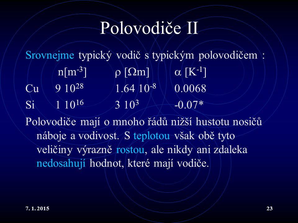 Polovodiče II Srovnejme typický vodič s typickým polovodičem :
