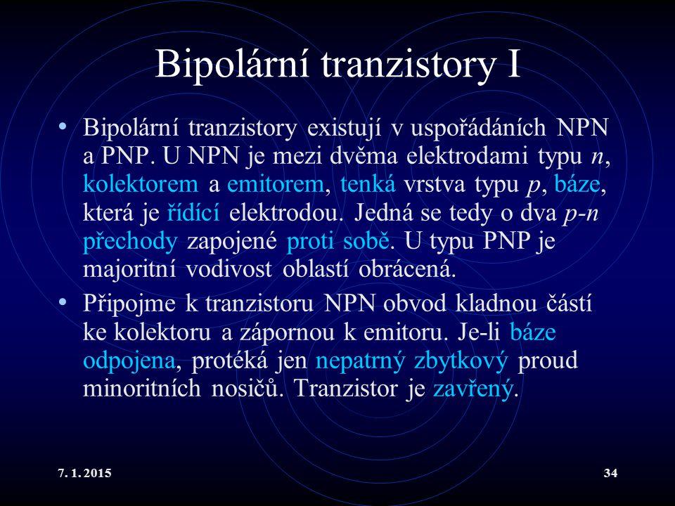 Bipolární tranzistory I