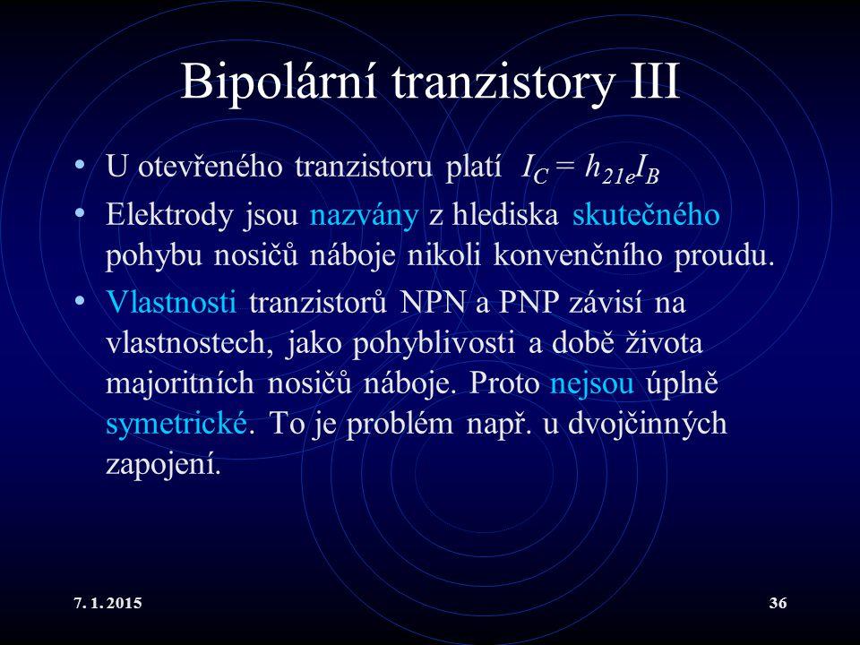 Bipolární tranzistory III